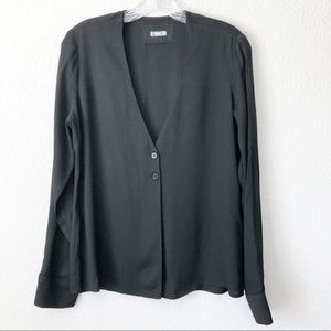 Reformation Black Two Button Blouse Top
